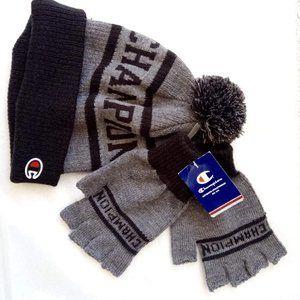 New Champion Pompom Beanie & Fingerless Gloves Set